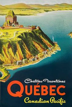 An original vintage railroad poster for travel via Canadian Pacific to Quebec. The featured destination is the famous Le Chateau Frontenac, a luxury hotel/castle located in old Quebec, on a bluff overlooking the St. A truly beautiful poste Canadian Pacific Railway, Canadian Travel, Canadian Rockies, Chateau Frontenac, Posters Canada, Canada Tourism, Retro Poster, Poster Vintage, Vintage Travel Posters