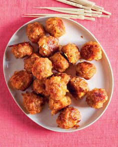 Sausage-Cheddar Balls - Martha Stewart Recipes - This reinterpretation of meatballs combines purchased breakfast sausage, cheddar cheese, and onion for a very flavorful holiday appetizer, enough for a crowd of hungry folks. Holiday Appetizers, Appetizers For Party, Appetizer Recipes, Snack Recipes, Cooking Recipes, Snacks, Meatball Appetizers, Dinner Recipes, Healthy Recipes