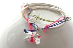 Silver arc bracelets
