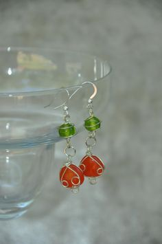 Green and Orange  Glass Wire Wrapped Dangle Earrings  - #craftshout