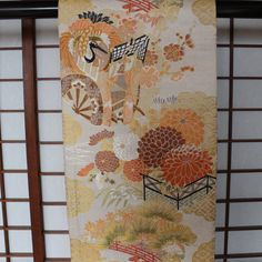 Maru Obi, Silk Obi, Formal Obi, Vintage Japanese Obi, For Wear, Japanese Tablerunner, Unique Valance, Material for High-end Sewing Projects by KominkaFabricsJapan on Etsy