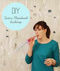 Simple instructions for how to make a photobooth backdrop that sparkles and shines - perfect for a wedding photobooth or a New Year's Eve party DIY project