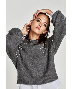 Image 7 of CROPPED SWEATER WITH FAUX PEARLS from Zara