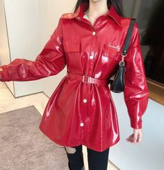 New 2020 Red Leather Jackets For Women With Belt Loose Fit Style New Fashion World Bright Red Leather Jacket Tunics For Women Long Leather Coat, Red Leather, Leather Jackets, Fitness Fashion, New Fashion, Coats For Women, Jackets For Women, Red Raincoat, Outerwear Women
