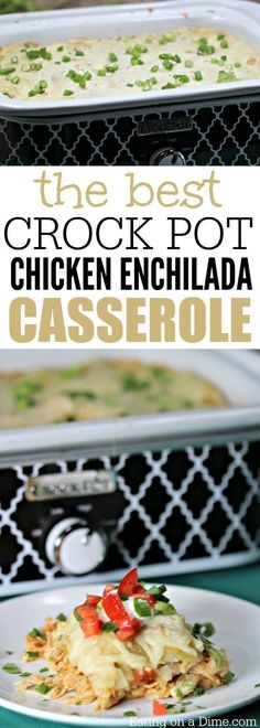 Looking for a delicious Mexican recipe? Try this super easy Crock pot Chicken En… Looking for a delicious Mexican recipe? Try this super easy Crock pot Chicken Enchilada casserole. Your favorite enchilada recipe cooked in a crock pot! Casserole Enchilada, Enchilada Recipes, Enchilada Sauce, Tostada Recipes, Casserole Recipes, Casserole Ideas, Crock Pot Slow Cooker, Crock Pot Cooking, Cooking Bacon