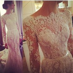 Gorgeous lace wedding dress with sleeves.