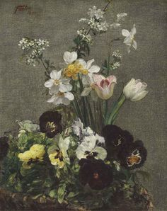 Narcissus, Tulips and Pansies by Henri Fantin-Latour (French, oil on canvas, x cm Henri Fantin Latour, Art Floral, Narcisse, Create Picture, Still Life Art, Whistler, Flower Pictures, Pansies, Flower Art