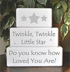 Twinkle Twinkle Little Star Decorative Blocks -- rock a bye baby shower Star Baby Showers, Baby Shower Parties, Star Decorations, Baby Shower Decorations, Star Nursery, Star Themed Nursery, Nursery Decor, Girl Decor, Twinkle Twinkle Little Star