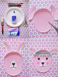 Tinker llama out of paper plates – DIY decoration idea for children – little love - Modern Paper Plate Crafts, Paper Plates, Diy For Kids, Crafts For Kids, Kids Fun, Fun Crafts, Diy And Crafts, Fairy Tea Parties, Tea Party