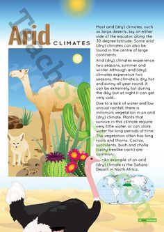 Teaching Resource: A poster to display in the classroom when learning about arid (dry) climates.