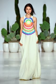 mara hoffman's, this white flowy gown, minimal with this multicolor pattern