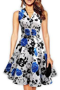 Cotton Ladies Retro Vintage Dress Floral Print Gender: Women Dresses Length: Knee-Length Silhouette: A-Line Season: Summer Style: Vintage Sleeve Length(cm): Sleeveless Waistline: Empire Brand Name: ZAFUL Sleeve. Cheap Dresses, Cute Dresses, Casual Dresses, Fashion Dresses, Summer Dresses, Halter Dresses, Party Dresses, Bridesmaid Dresses, Wedding Dresses