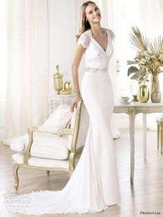 pronovias 2014 collection laila short sleeve wedding dress