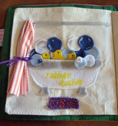 Quiet Book - Bubble bath, do this on laminated page or leave plastic section on side for suction cups on curtain