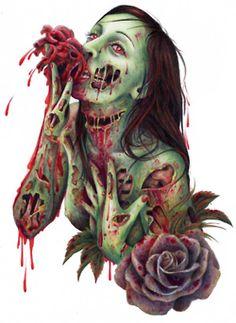 zombie fine art print by wengergirl on etsy Zombie Pin Up, Zombie Cartoon, Zombie Walk, Zombie Girl, Zombie Zombie, Zombie Style, Arte Horror, Horror Art, Rockabilly Art