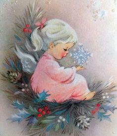 Adorable  Angel Girl Holding a Snowflake