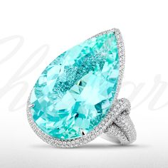 A stunningly luminescent 22.89 carat #paraiba tourmaline ring from the Red Carpet 2013 Collection.