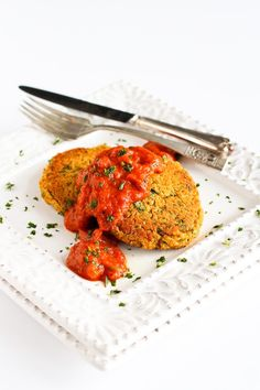 This Baked Curry Lentil Cakes recipe makes for a satisfying, but light vegan meal.  The roasted red pepper sauce is so good it could be eaten with a spoon!