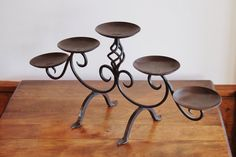 Wrought Iron Candelabra Hand Forged Wrought by CobblestonesVintage