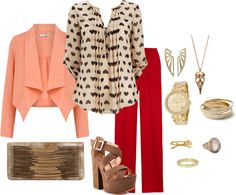"""""""Red hot trousers"""" by anna-fannin on Polyvore"""