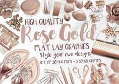Rose Gold Flat Lay Graphics by MyCosmicShop on Chelsea Bun, Cake Lifter, Every Rose, Gold Palette, White Cups, Gold Flats, Pencil Bags, Bunch Of Flowers, No Photoshop