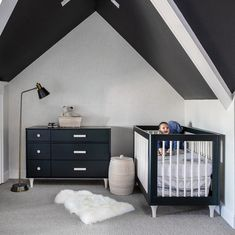 🖤 monochromatic for days 🖤 • #babyletto Lolly crib and dresser • 📷: nursery designed by @heatonwilliams, photo by @kuohphotographyinteriors Mamas And Papas, Convertible Crib, Profile Design, Crib Mattress, Indoor Air Quality, Nursery Design, Sustainable Design, Baby Sleep, Interior Inspiration