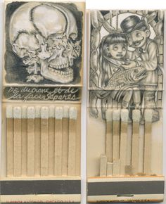 Inspiration Hut - Small Sketches on Matchboxes by Jason D'Aquino