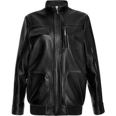 Anthony Vaccarello Leather Teddy Jacket (254,585 DOP) ❤ liked on Polyvore featuring outerwear, jackets, genuine leather jacket, leather jacket, collar leather jacket, flap jacket and real leather jacket