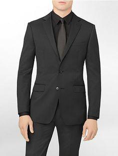 Black Pinstripe Suit Jacket by Calvin Klein