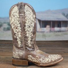 Corral Ladies Crater Bone Embroidery Square Toe Boot A2663 | Cowby Boots and Western Clothing | Painted Cowgirl Western Store