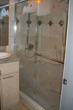 Octlo Sldg Gls Shr Enclosures Etched Glass Western Style Art on glass shower enclosures Sans Soucie! Turn an ordinary shower into an exquisite work of art! Glass Shower Enclosures, Glass Shower Doors, Custom Shower, Glass Etching, Showers, Glass Art, Custom Design, Custom In, Shower