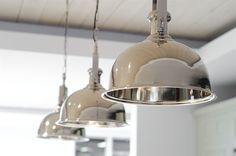 Imperial nickel pendant light - line the pendant lights in a row above kitchen island for a striking effect. Fluorescent Kitchen Lights, Kitchen Recessed Lighting, Rustic Kitchen Lighting, Kitchen Ceiling Lights, Kitchen Island Lighting, Neptune Home, Neptune Kitchen, Interior Lighting, Home Lighting