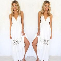 Sexy Women Summer Boho Lace Long Maxi Evening Party Beach Dresses Sundress -- BuyinCoins.com