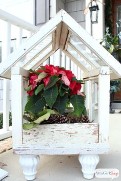 Atta Girl Says 2013 Christmas Home Tour & Holiday Decorating Ideas    A planter made from old windows