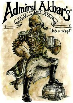 """""""Admiral Akbar's Olde Timey Rhum""""  After the Battle of Endor, the Admiral decided to carry on the Akbar family tradition of making rum. Olde Timey Rhum!! Made with the finest ingredients in all of Mon Calimari and aged to perfection.    Remember. """"It's A Trap!"""" A delicious trap that goes down smooth."""