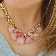 Pretty in Pink Statement Necklace Bib style by DesignsbyStacyLee - pink Swarovski and rose quartz