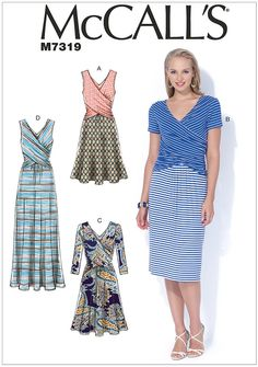 Misses Gathered Waist Dresses McCalls Sewing Pattern 7319.