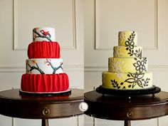 The red Cake, how fun! Jay Qualls of Maples Wedding Cakes