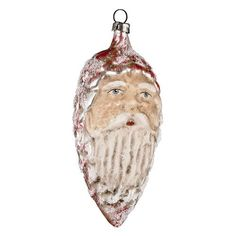 """Vintage mouthblown Christmas Glass ornament """"Red Cone with Face"""" with glimmer by Marolin - Germany"""