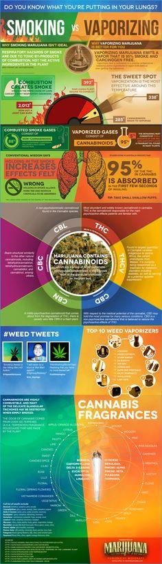 Smoking vs Vaporizing Infographic. Some great information here! #medicalmarijuana #vaporizing www.OneMorePress.com