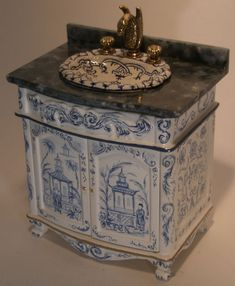 Blue Chinoiserie Sink Commode by Renee Isabelle