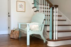 A fun way to bring in color. Painted stair spindles.  Easy to do and easy to change