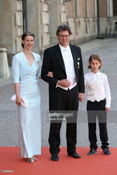 Bettina Bernadotte Wisborg (L),her husband Philipp Haug (C) and their son attend the royal wedding of Prince Carl Philip of Sweden and Sofia Hellqvist at The Royal Palace on June 13, 2015 in Stockholm, Sweden.  (Photo by Gisela Schober/Getty Images)