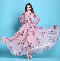 50022ceb900 110 Colors Chiffon Pink Floral Flowber Autumn Long Sleeve Party Big Hem  Dress Evening Wedding Maternity Lightweight Bridesmaid Maxi Skirt