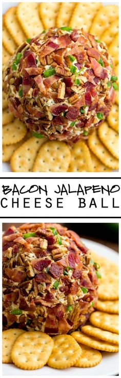This Jalapeño Bacon Cheese Ball is the BEST thing ever! Loaded with amazing ingredients and then coated in bacon and jalapeños this is a crowd pleaser! I always substitute pork bacon for uncured turkey bacon. Finger Food Appetizers, Yummy Appetizers, Appetizers For Party, Appetizer Recipes, Tapas, I Love Food, Good Food, Yummy Food, Bacon Recipes