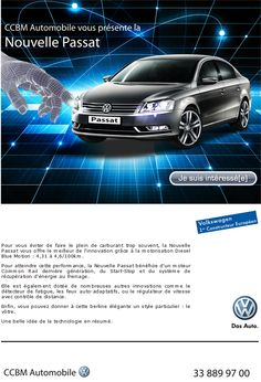 newsletter du concessionnaire CCBM Automobile à Dakar poru la promotion de la nouvelle Passat de Volkswagen (août 2012)