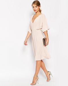 Image 4 ofASOS TALL Kimono Plunge Midi Dress