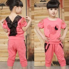Hot Sale 2014 New Summer Brand Girls Clothing Sets Casual Kids Clothing Sets Children Mickey Mouse Lace Cotton T-Shirts+Pants $17.99