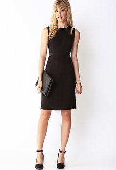 Love 21 - A sleeveless sheath dress featuring cutout shoulders and mesh panels at the waist. Roun...