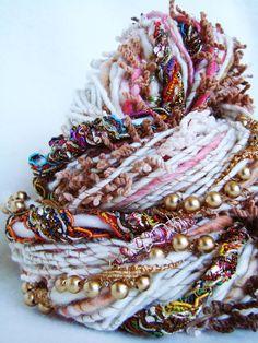 Hand Spun Art Yarn - BARKHA , via Etsy.